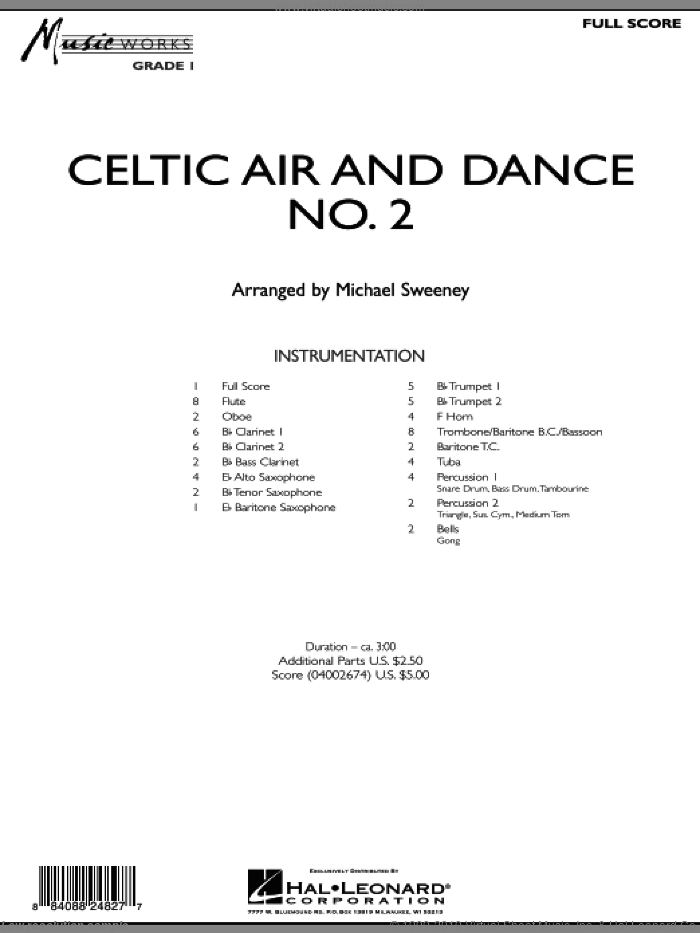 Celtic Air and Dance No. 2 (COMPLETE) sheet music for concert band by Michael Sweeney, intermediate. Score Image Preview.