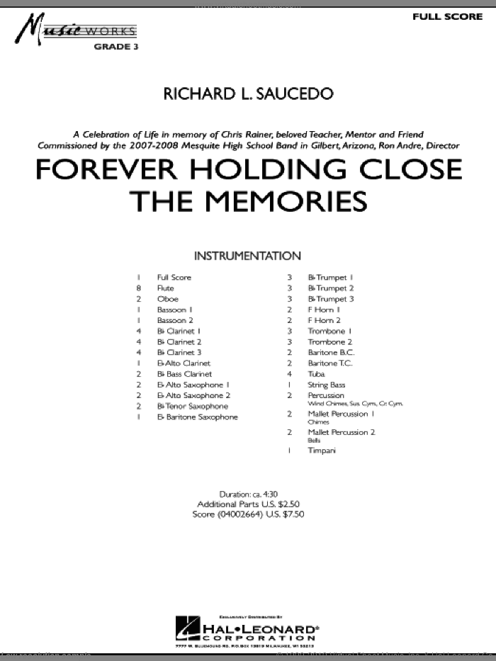 Forever Holding Close the Memories sheet music for concert band (full score) by Richard L. Saucedo