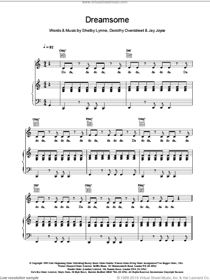 Dreamsome sheet music for voice, piano or guitar by Shelby Lynne