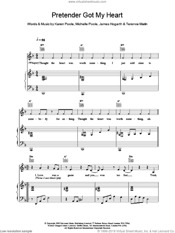 Pretender Got My Heart sheet music for voice, piano or guitar by Alisha's Attic
