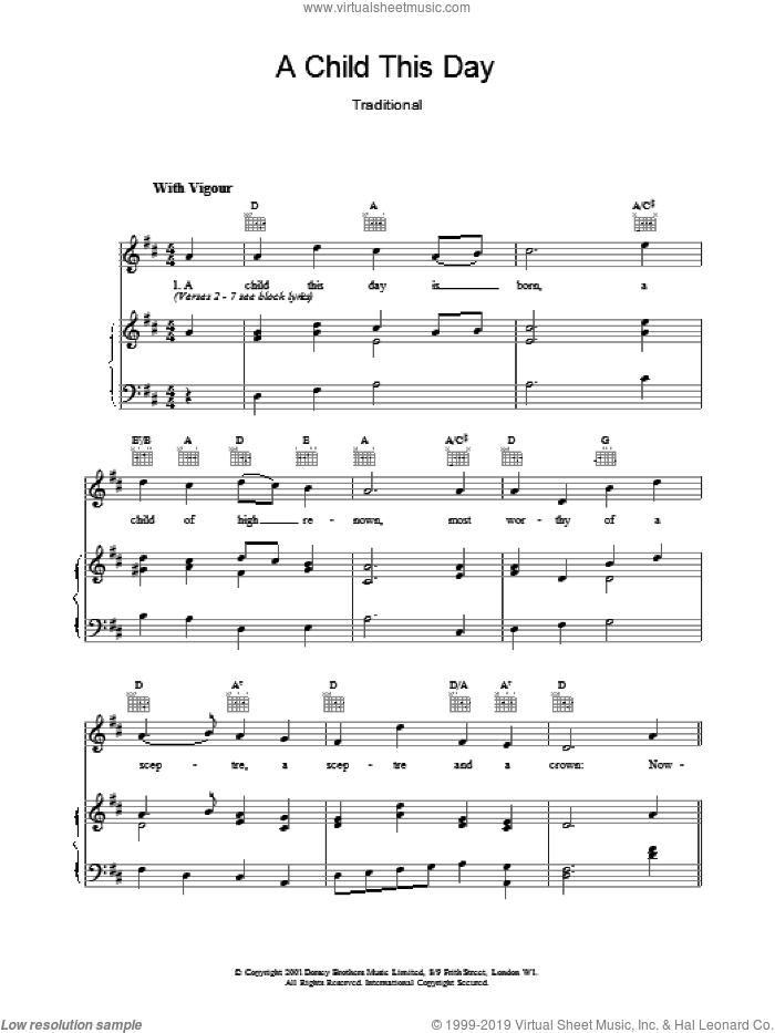 A Child This Day sheet music for voice, piano or guitar