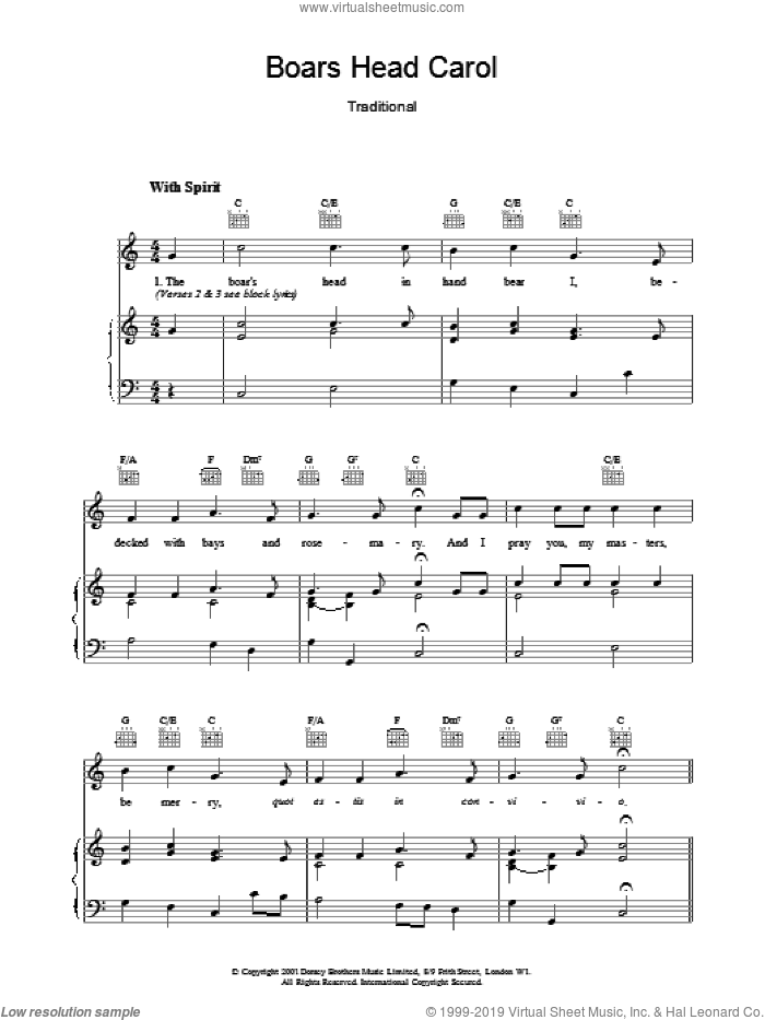 Boars Head Carol sheet music for voice, piano or guitar, intermediate. Score Image Preview.