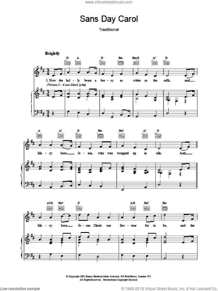 Sans Day Carol sheet music for voice, piano or guitar. Score Image Preview.