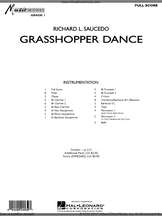 Grasshopper Dance (COMPLETE) sheet music for concert band by Richard L. Saucedo