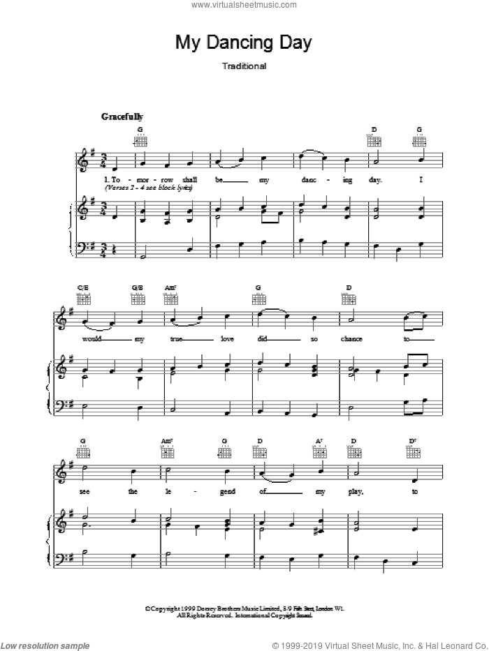 My Dancing Day sheet music for voice, piano or guitar. Score Image Preview.