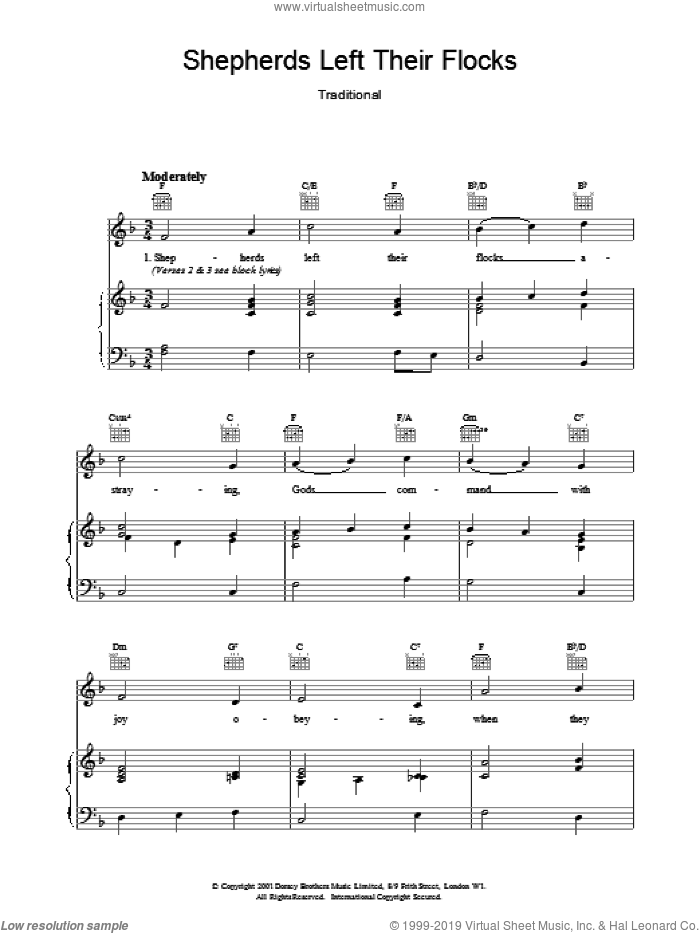 Shepherds Left Their Flocks sheet music for voice, piano or guitar. Score Image Preview.
