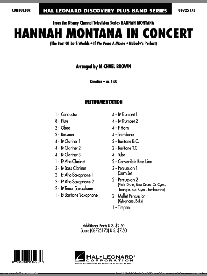 Hannah Montana in Concert (COMPLETE) sheet music for concert band by Miley Cyrus, Hannah Montana and Michael Brown, intermediate. Score Image Preview.