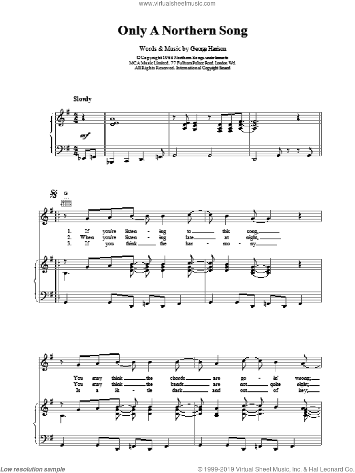Only A Northern Song sheet music for voice, piano or guitar by The Beatles