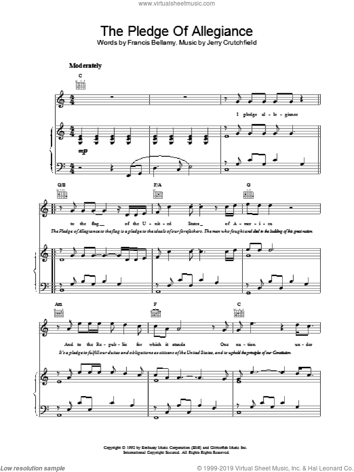 The Pledge Of Allegiance sheet music for voice, piano or guitar by Lee Greenwood. Score Image Preview.