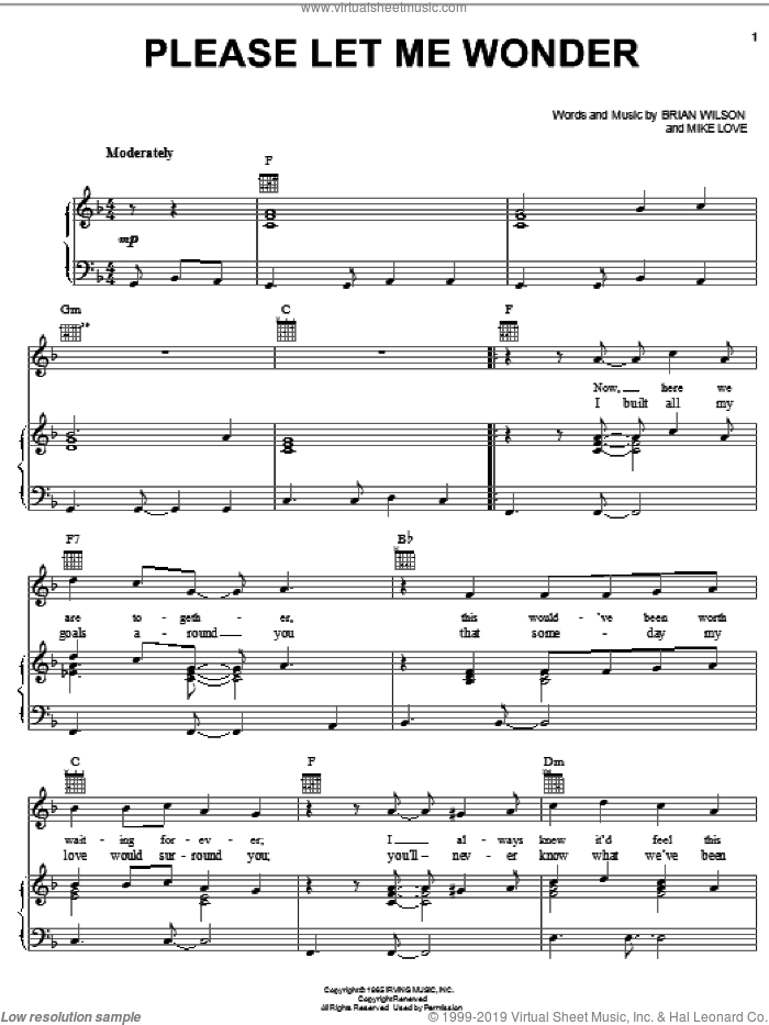 Please Let Me Wonder sheet music for voice, piano or guitar by Mike Love, The Beach Boys and Brian Wilson. Score Image Preview.