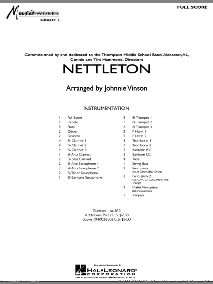 Nettleton (COMPLETE) sheet music for concert band by Johnnie Vinson, intermediate. Score Image Preview.