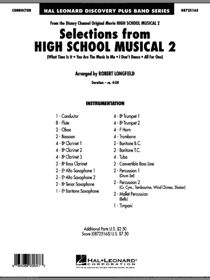 Selections from High School Musical 2 (COMPLETE) sheet music for concert band by Robert Longfield, intermediate concert band. Score Image Preview.