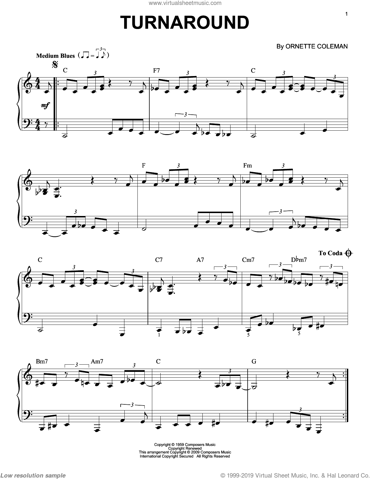 Turnaround sheet music for piano solo by Ornette Coleman