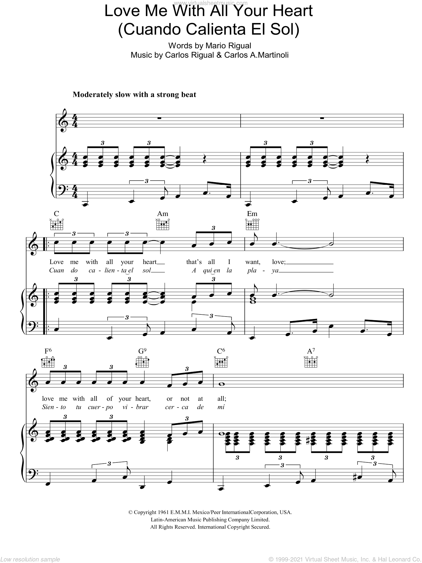Love Me With All Your Heart (Cuando Calienta El Sol) sheet music for voice, piano or guitar by Petula Clark, intermediate. Score Image Preview.