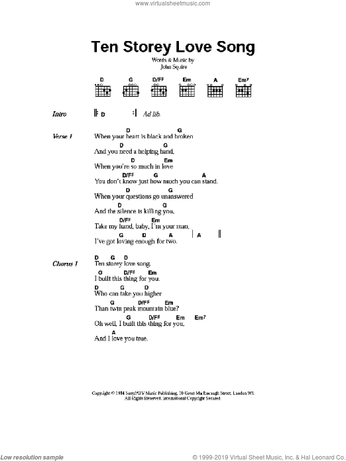 Ten Storey Love Song sheet music for guitar (chords) by John Squire. Score Image Preview.