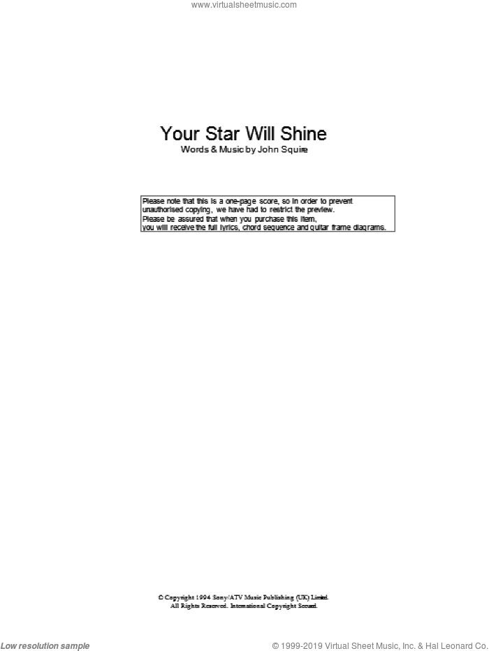 Your Star Will Shine sheet music for guitar (chords) by John Squire