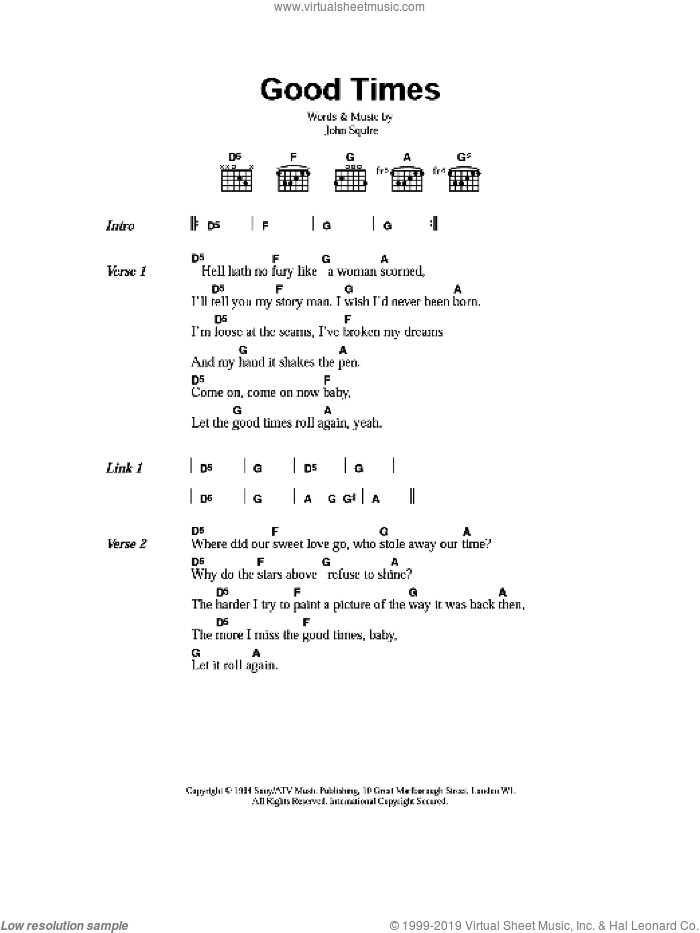Good Times sheet music for guitar (chords) by The Stone Roses and John Squire, intermediate skill level