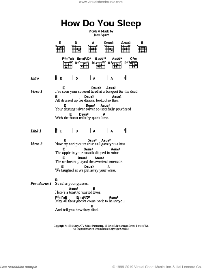 How Do You Sleep sheet music for guitar (chords) by John Squire. Score Image Preview.