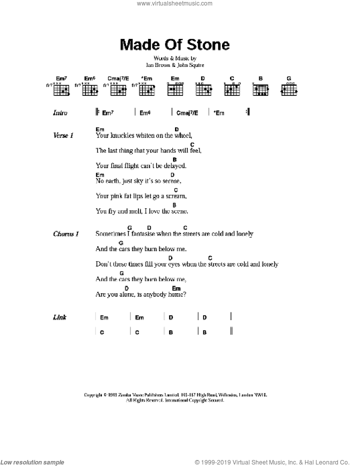 Roses - Made Of Stone sheet music for guitar (chords) [PDF]