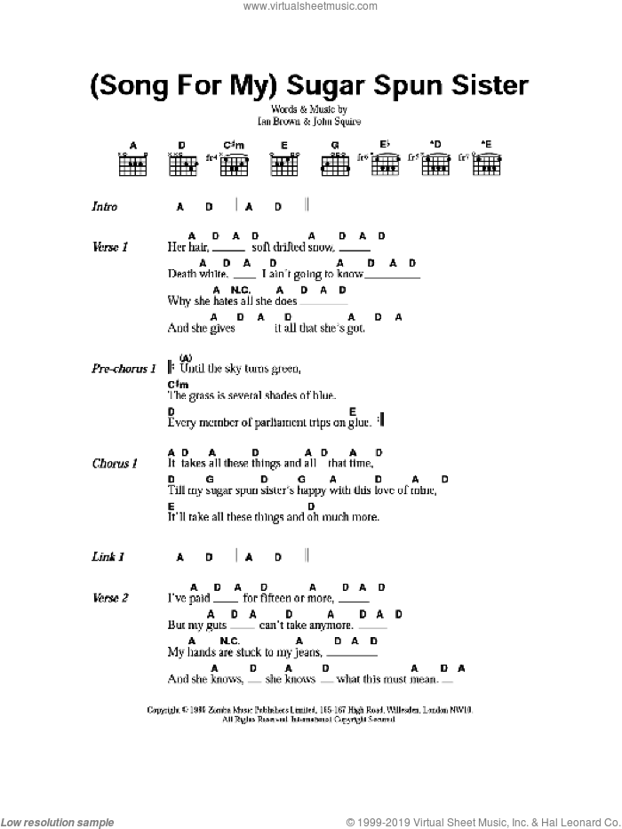 (Song For My) Sugar Spun Sister sheet music for guitar (chords) by Ian Brown and John Squire. Score Image Preview.
