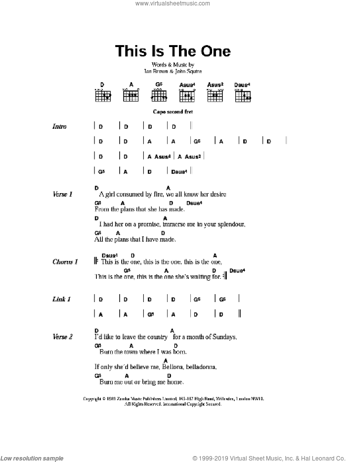 This is The One sheet music for guitar (chords) by The Stone Roses, Ian Brown and John Squire, intermediate skill level