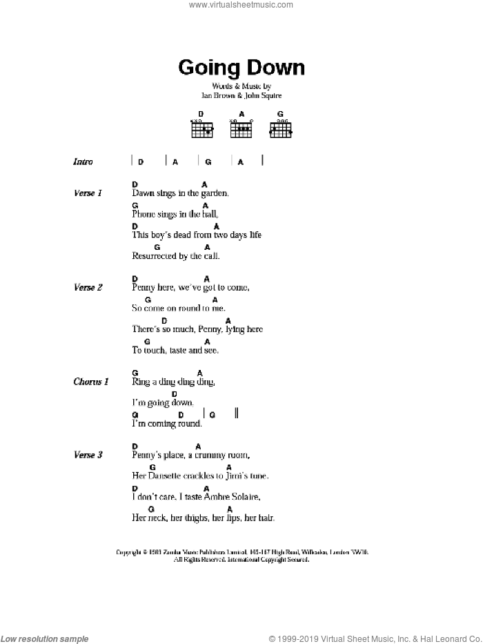 Going Down sheet music for guitar (chords) by Ian Brown