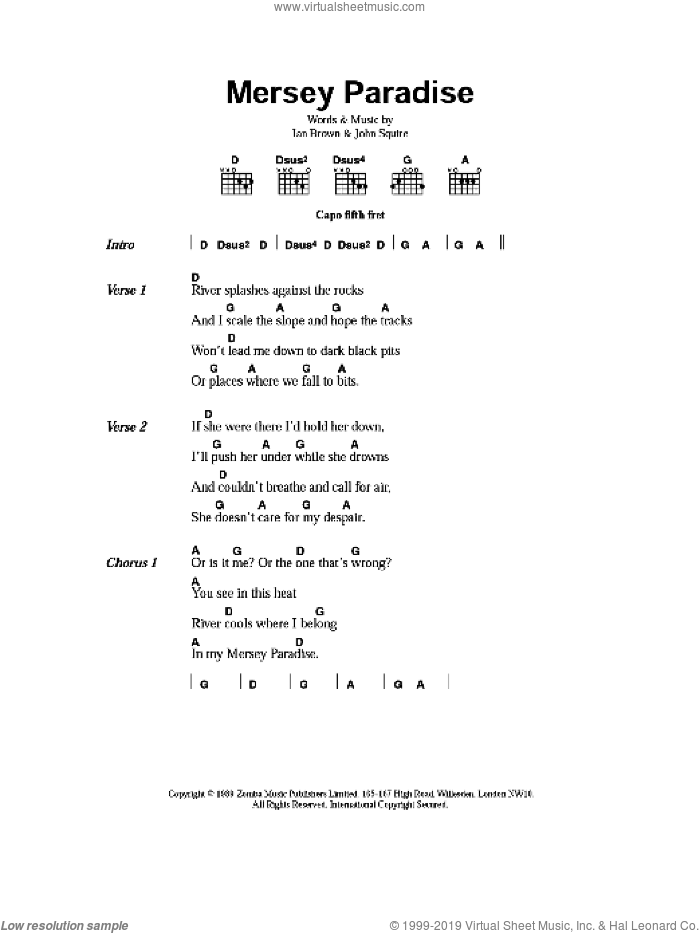 Mersey Paradise sheet music for guitar (chords) by The Stone Roses, Ian Brown and John Squire, intermediate