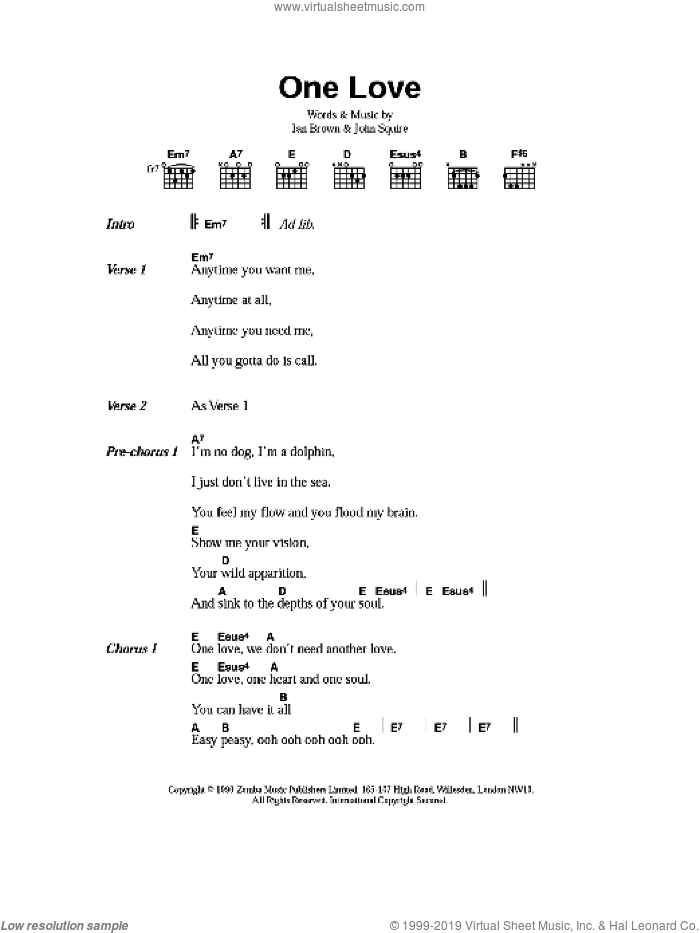 One Love sheet music for guitar (chords) by The Stone Roses, Ian Brown and John Squire, intermediate skill level