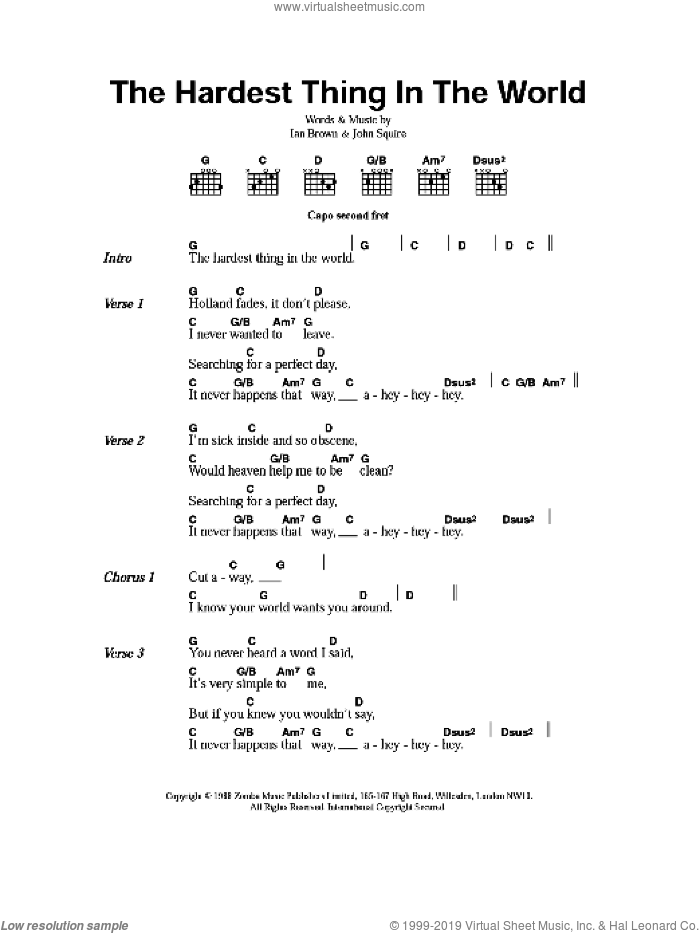 The Hardest Thing In The World sheet music for guitar (chords) by Ian Brown