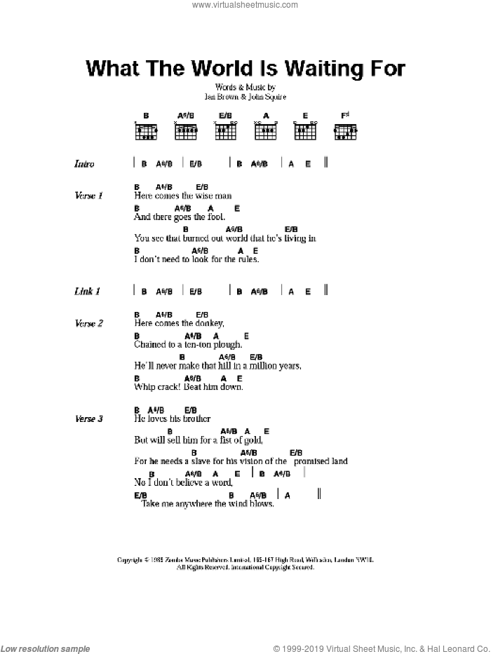 What The World Is Waiting For sheet music for guitar (chords) by The Stone Roses, Ian Brown and John Squire, intermediate. Score Image Preview.
