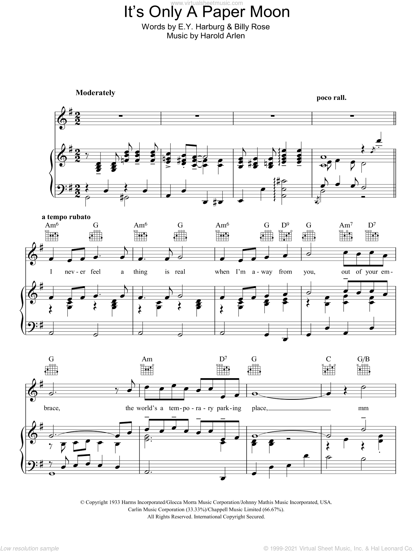 It's Only A Paper Moon sheet music for voice, piano or guitar by E.Y. Harburg, Billy Rose and Harold Arlen, intermediate skill level