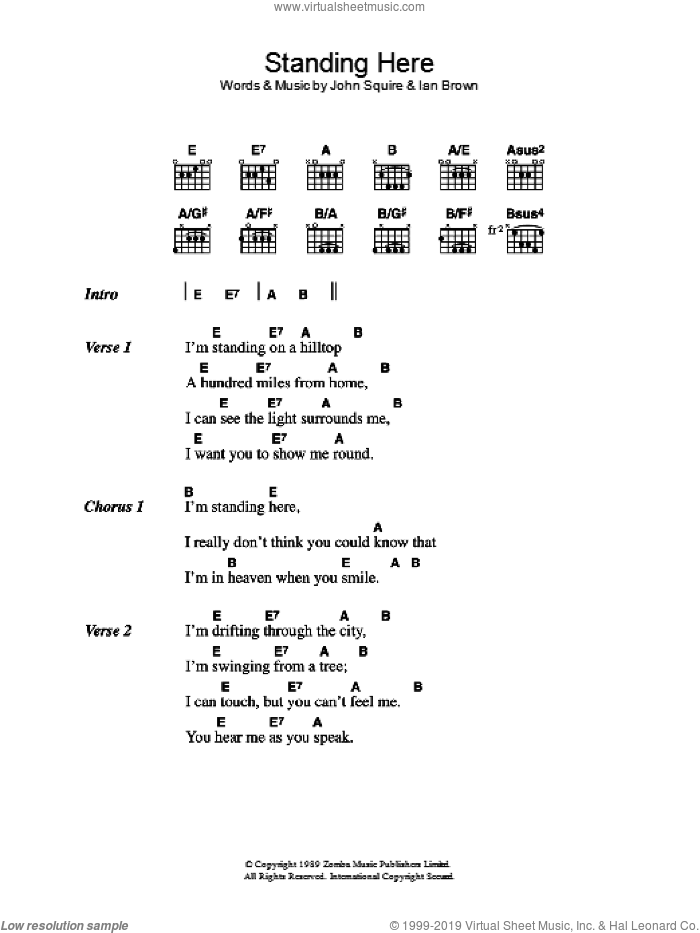 Standing Here sheet music for guitar (chords) by Ian Brown