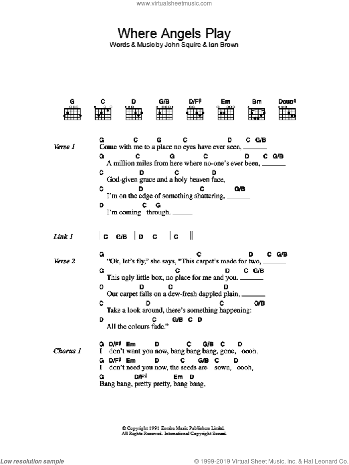 Something's Burning sheet music for guitar (chords) by The Stone Roses, Ian Brown and John Squire, intermediate skill level