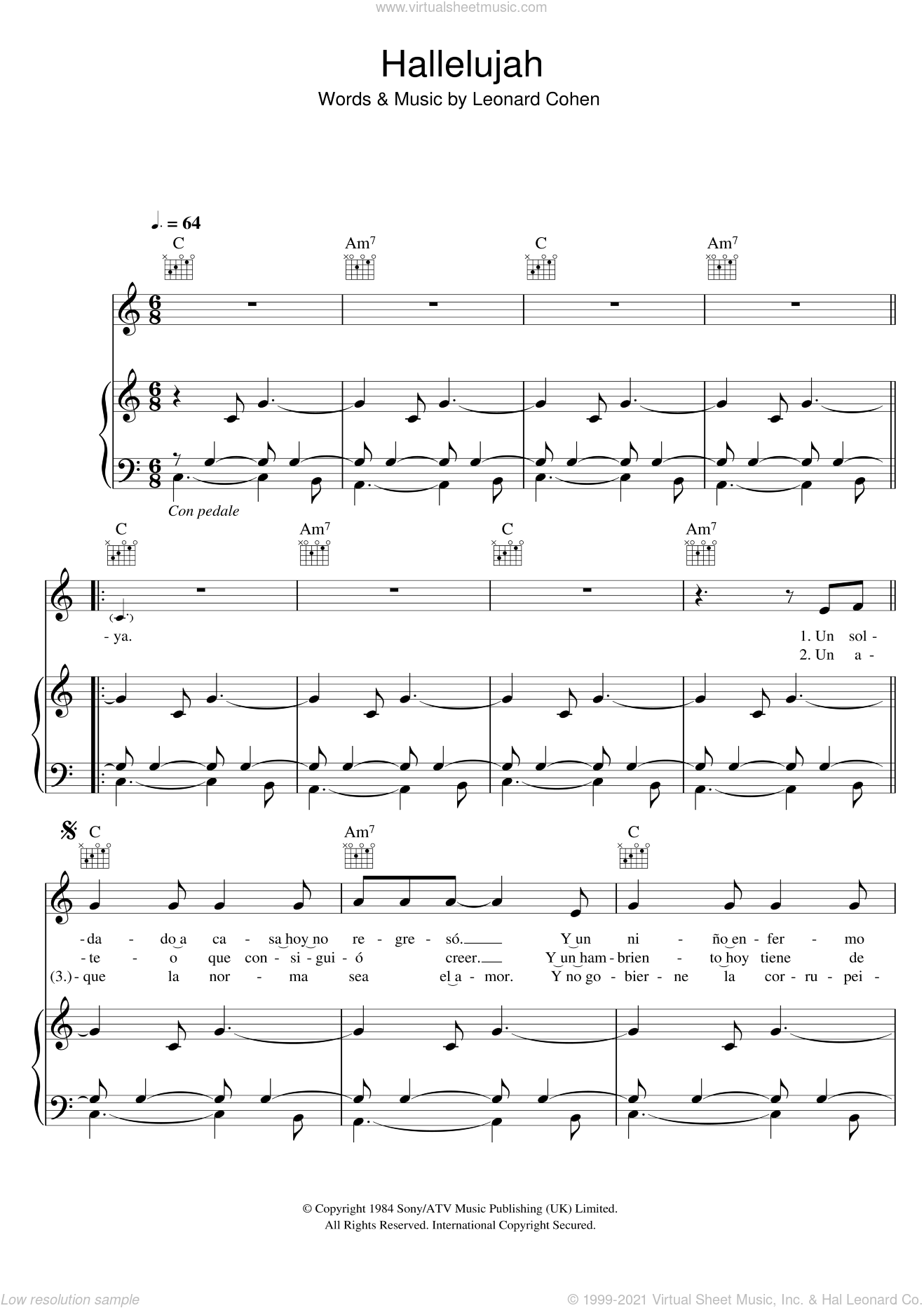 Hallelujah sheet music for voice, piano or guitar by Il Divo and Leonard Cohen, intermediate skill level