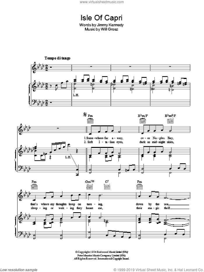 Isle Of Capri sheet music for voice, piano or guitar by Will Grosz and Jimmy Kennedy. Score Image Preview.