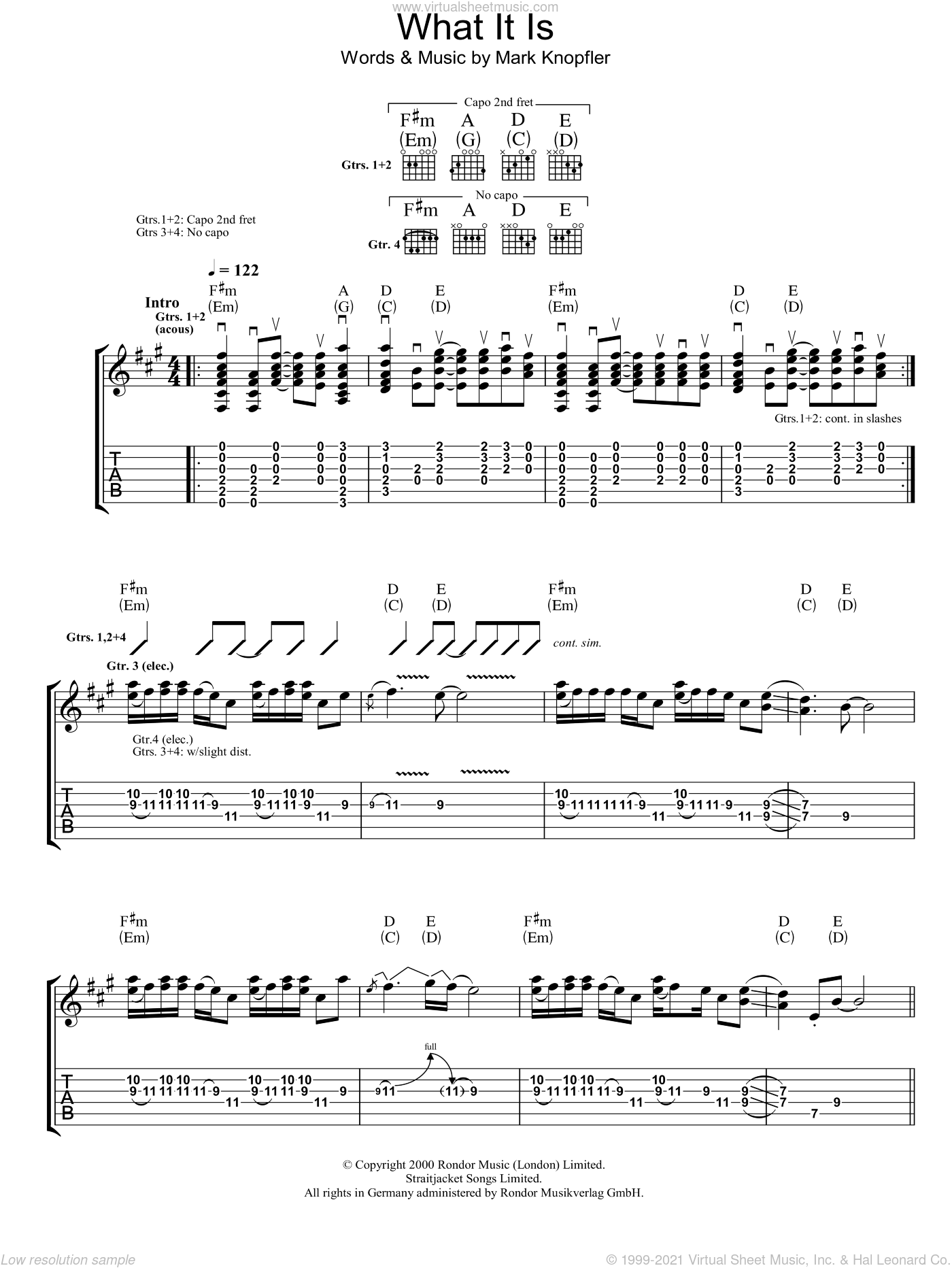 What It Is sheet music for guitar (tablature) by Mark Knopfler. Score Image Preview.