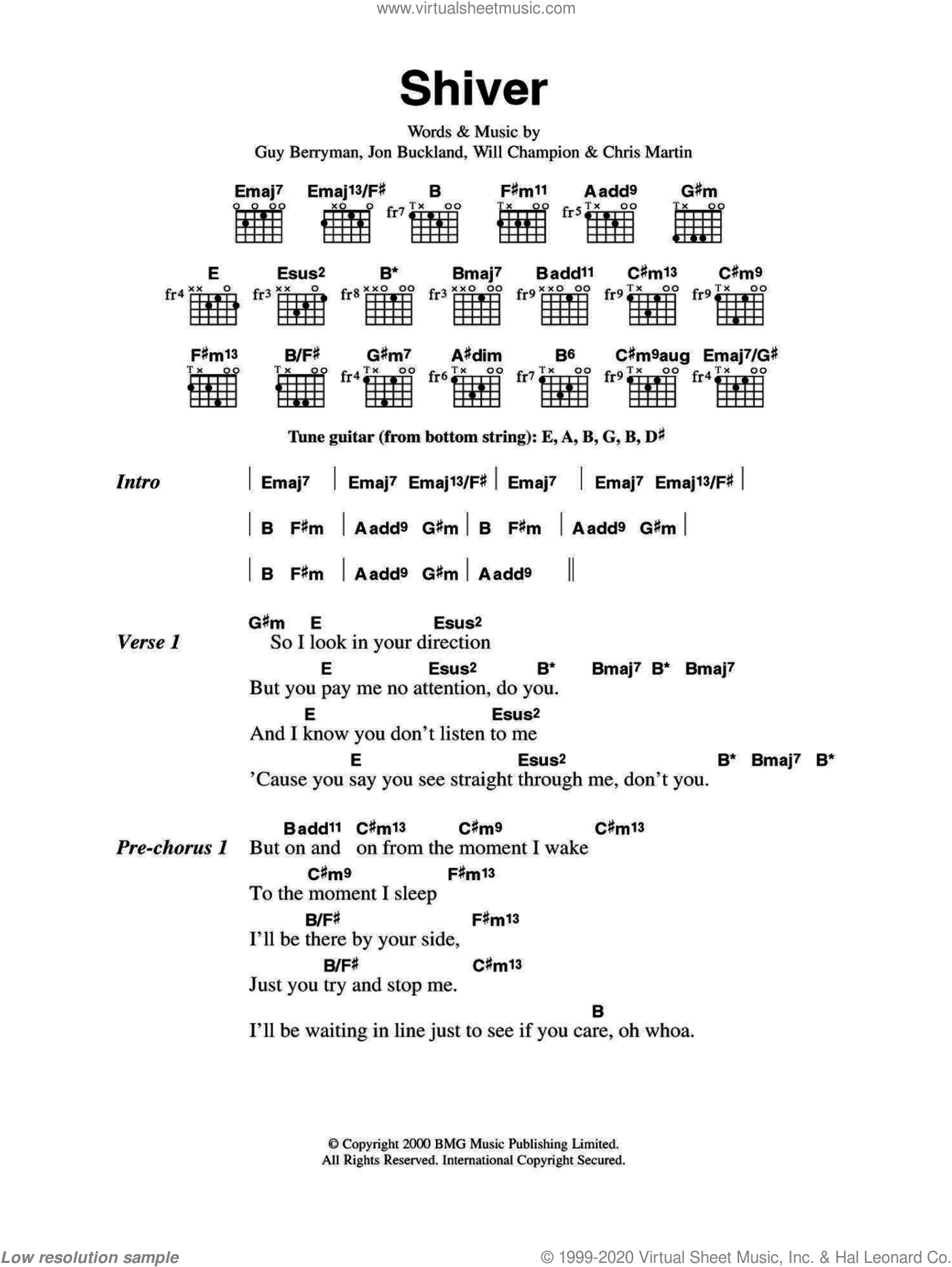 Shiver sheet music for guitar (chords) by Chris Martin