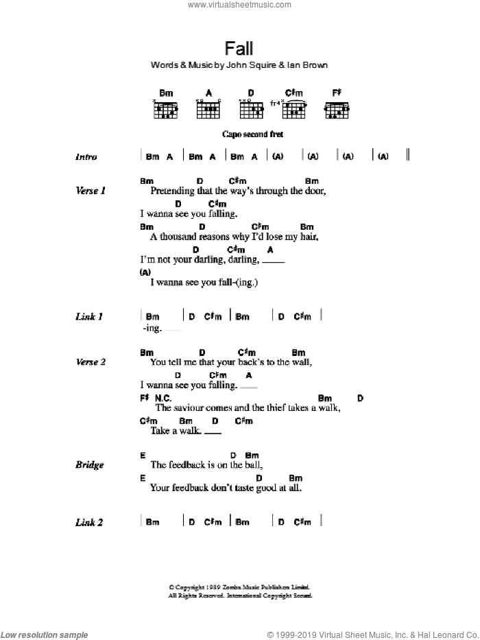 Fall sheet music for guitar (chords) by The Stone Roses, Ian Brown and John Squire, intermediate. Score Image Preview.