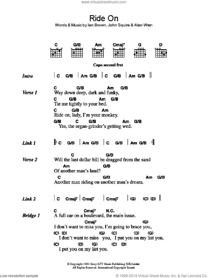 Ride On sheet music for guitar (chords) by The Stone Roses, Alan Wren, Ian Brown and John Squire, intermediate. Score Image Preview.