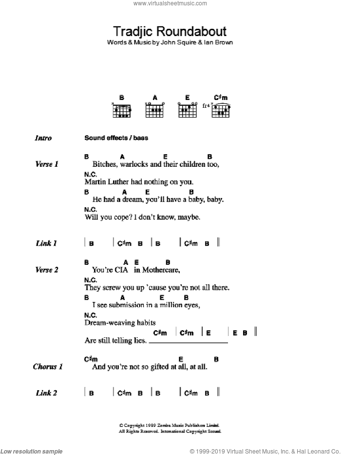 Tradjic Roundabout sheet music for guitar (chords) by The Stone Roses, Ian Brown and John Squire, intermediate guitar (chords). Score Image Preview.
