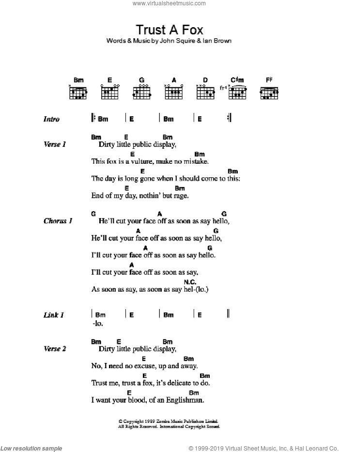 Trust A Fox sheet music for guitar (chords) by Ian Brown and John Squire. Score Image Preview.