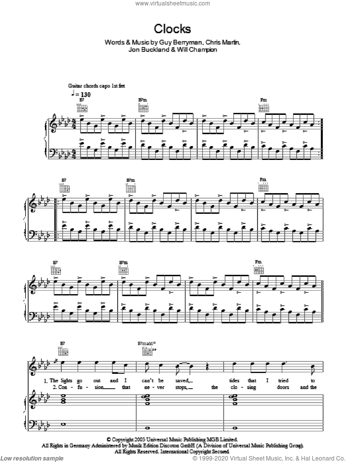 Clocks sheet music for voice, piano or guitar by Coldplay, intermediate voice, piano or guitar. Score Image Preview.