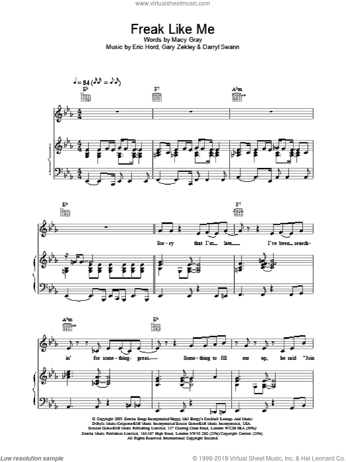Freak Like Me sheet music for voice, piano or guitar by Macy Gray. Score Image Preview.