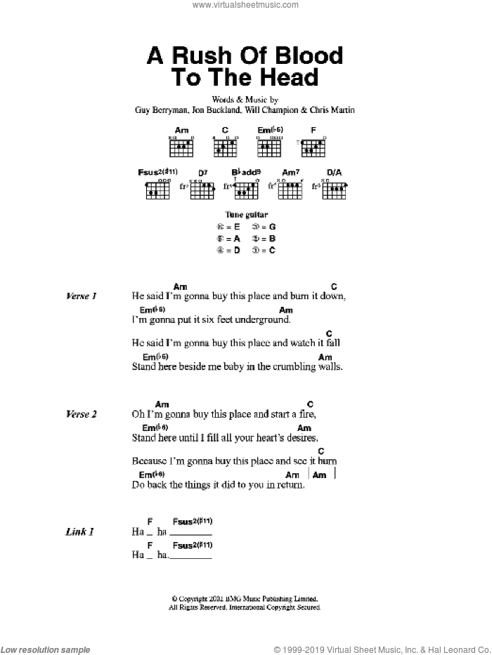 A Rush Of Blood To The Head sheet music for guitar (chords) by Coldplay, Chris Martin, Guy Berryman, Jon Buckland and Will Champion, intermediate skill level
