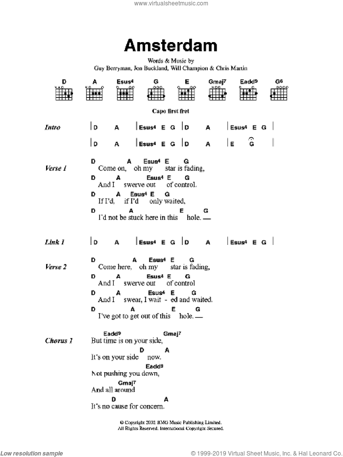 Amsterdam sheet music for guitar (chords, lyrics, melody) by Chris Martin