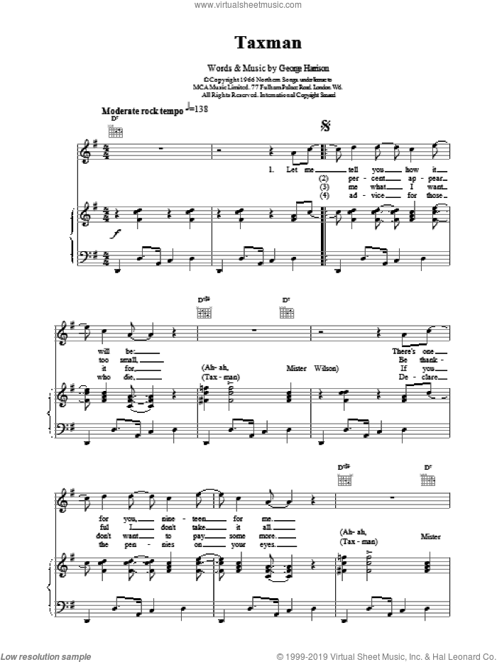Taxman sheet music for voice, piano or guitar by The Beatles, intermediate skill level