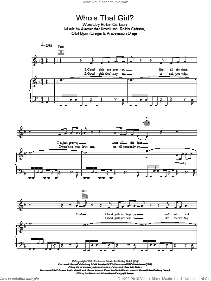 Who's That Girl sheet music for voice, piano or guitar by Robyn, Alexander Kronlund, Andersson Dreijer, Olof Bjorn Dreijer and Robin Carlsson, intermediate