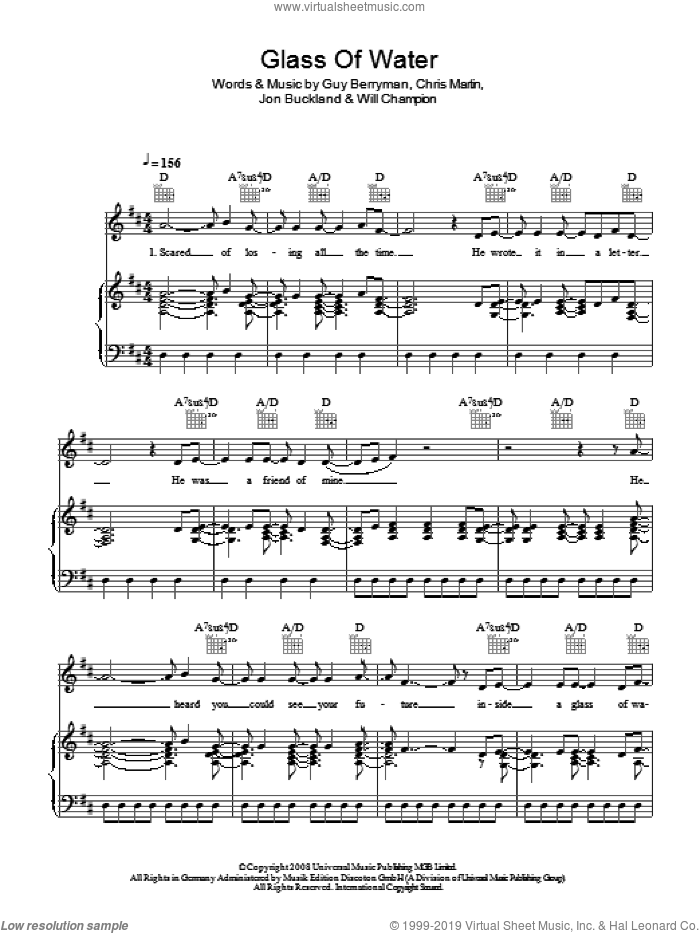 Glass Of Water sheet music for voice, piano or guitar by Chris Martin