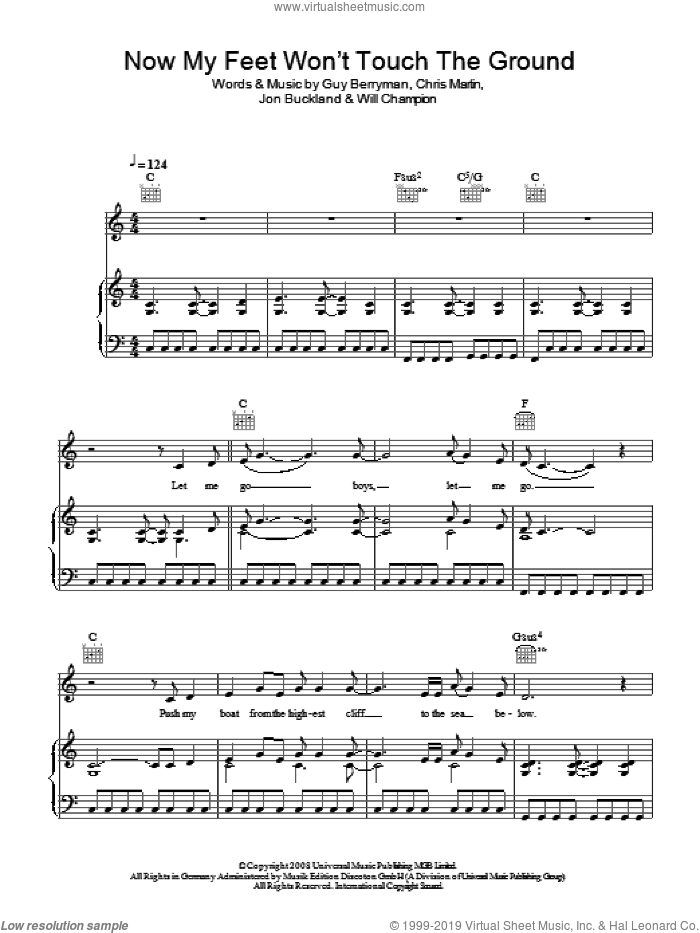Now My Feet Won't Touch The Ground sheet music for voice, piano or guitar by Coldplay. Score Image Preview.
