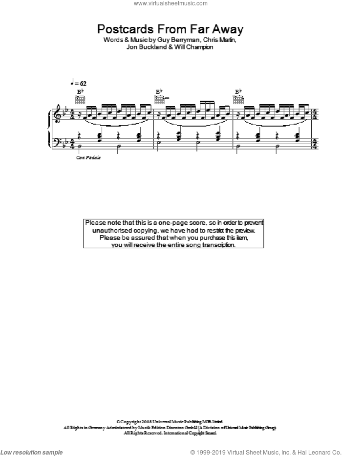 Postcards From Far Away sheet music for voice, piano or guitar by Coldplay, intermediate. Score Image Preview.